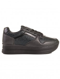 Pantofi sport de dama cu platforma - negri