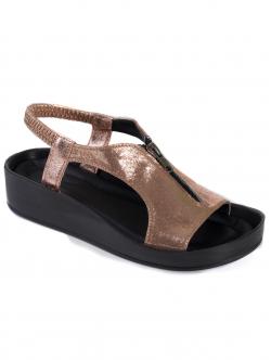 Sandale de damă cu fermoar, culoare bronz