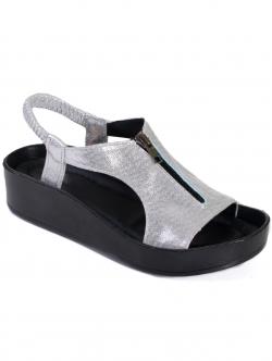Sandale de damă cu fermoar, culoare argintie