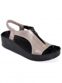 Sandale de damă cu fermoar, culoare aurie