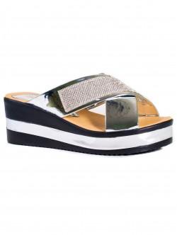 Papuci de damă cu decorațiune argintie