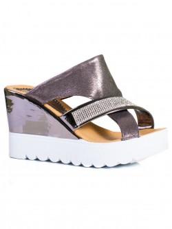 Papuci de damă eleganți, culoare metalică