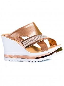 Papuci de damă eleganți, culoare bronz