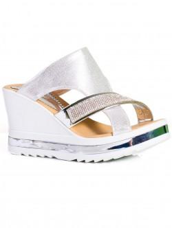 Papuci de damă eleganți, culoare argintie