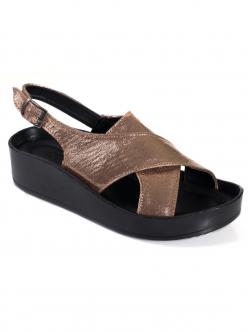 Sandale comode de damă, culoare bronz