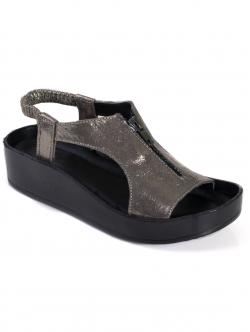 Sandale de damă cu fermoar, culoare metalică