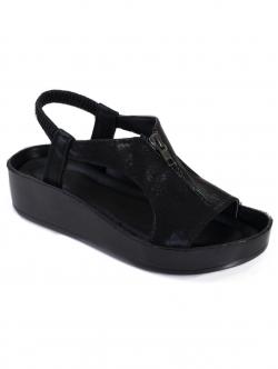 Sandale de damă cu fermoar, culoare neagră