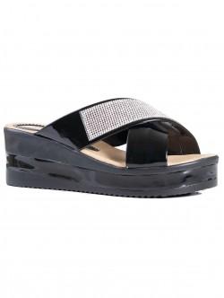 Papuci de damă cu decorațiune de culoare neagră