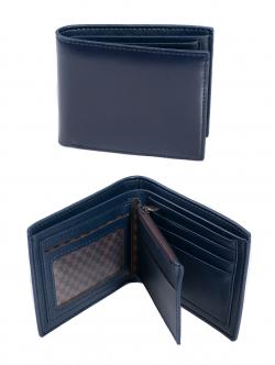Portofel pentru bărbați, cu compartiment pentru monede, culoare albastră