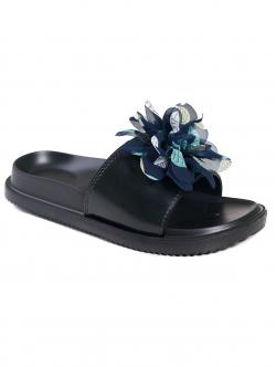 Papuci de damă cu floare, culoare albastră