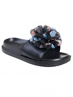 Papuci de damă cu floare, culoare neagră