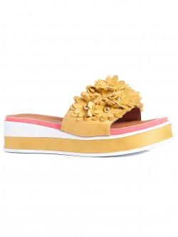 Papuci de damă cu talpă confortabilă, culoare galbenă