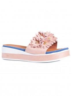Papuci de damă cu talpă confortabilă, culoare roz