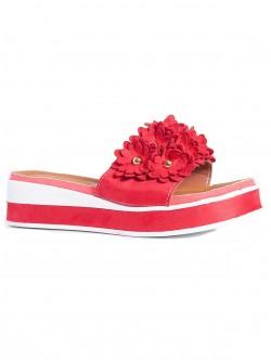 Papuci de damă cu talpă confortabilă, culoare roșie