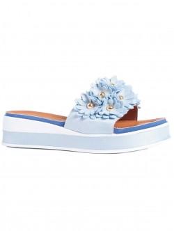 Papuci de damă cu talpă confortabilă, culoare albastru deschis