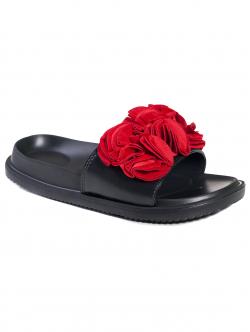 Papuci anatomici cu floare, culoare roșie