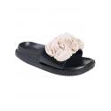 Papuci anatomici cu floare, culoare bej