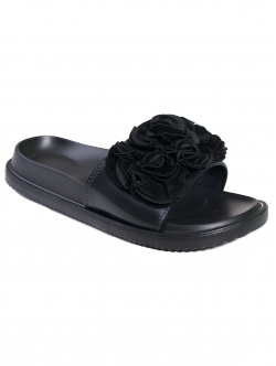 Papuci anatomici cu floare, culoare neagră