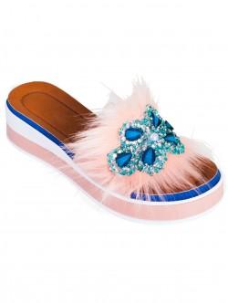 Papuci de damă moderni, culoare roz