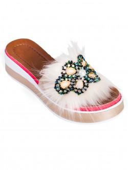 Papuci de damă moderni, culoare aurie