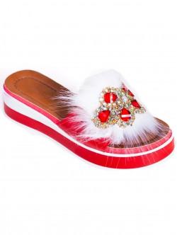 Papuci de damă moderni, culoare roșie