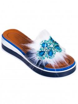 Papuci de damă moderni, culoare albastră
