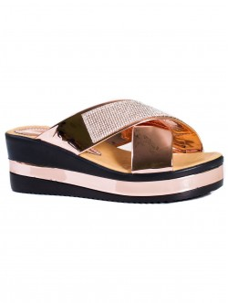 Papuci de damă cu decorațiune de culoare bronz