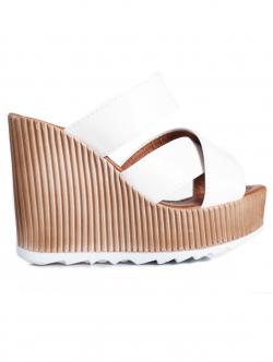 Papuci de damă cu platformă înaltă, culoare albă
