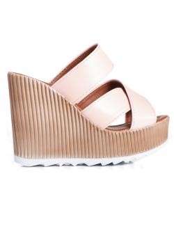 Papuci de damă cu platformă înaltă, culoare roz