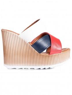 Papuci de damă cu toc înalt, culoare albastră, roșie și albă