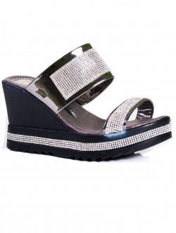 Papuci de damă cu platformă, culoare metalică