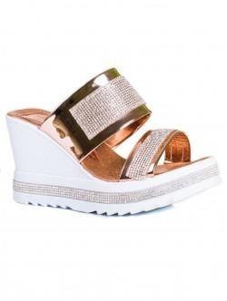 Papuci de damă cu platformă, culoare arămie