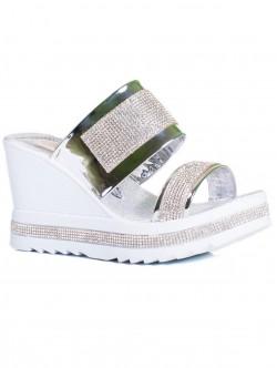 Papuci de damă cu platformă, culoare argintie