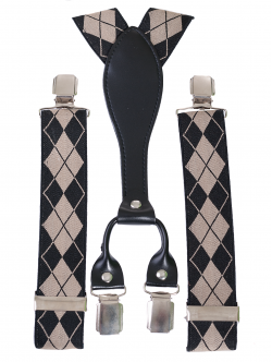 Bretele bărbătești cu prindere dublă, în culori bej și negru