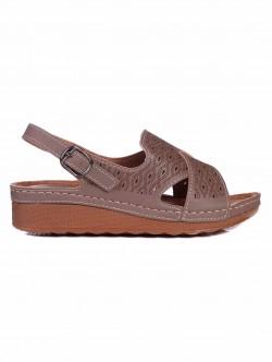 Sandale de damă cu platformă medie - bej