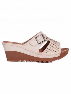 Papuci de damă cu platformă, cu pietre