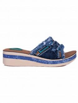 Papuci de damă din denim, cu platformă