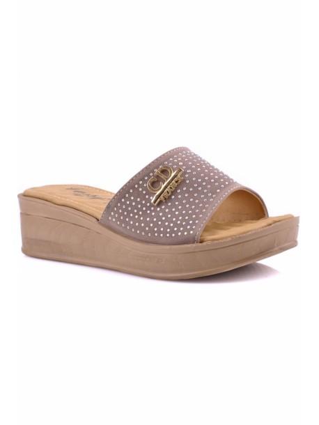 Papuci cu talpa ortopediaca Kasidi bej cu pietre