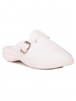 Papuci albi cu picioare late
