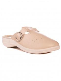 Papuci din piele medicală bej