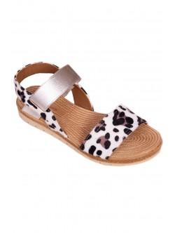 Sandale pentru damă cu talpă anatomică - alb și negru