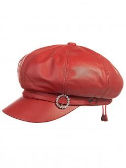 Șapcă din piele pentru femei roșie