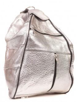 Rucsac de piele pentru femei - argintiu