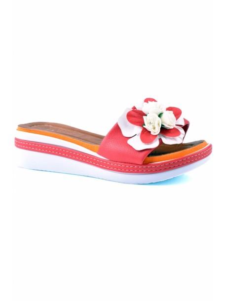 Papuci cu talpa ortopedica de dama Rali-roz si portocaliu