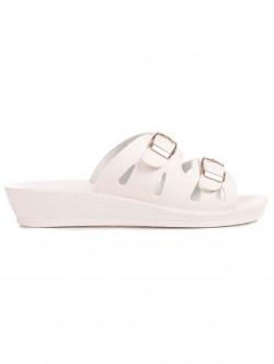 Papuci albi cu toc mic pentru femei