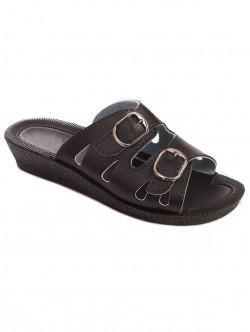 Papuci negri de damă cu toc mic