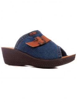 Papuci din denim cu platformă pentru femei