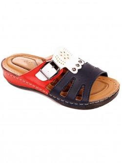 Papuci de damă în albastru, roșu și alb