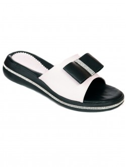 Papuci cu panglică - alb