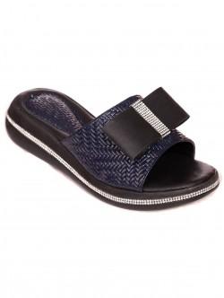 Papuci brevetate cu o panglică - albastru închis